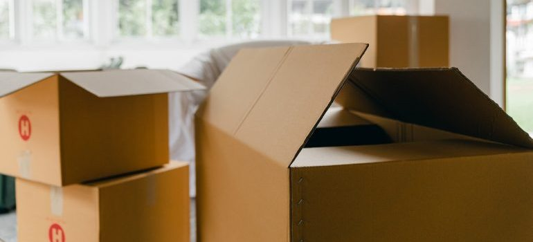 Moving boxes in a middle of a room