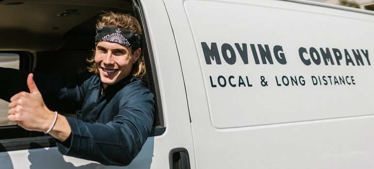 A guy in a moving van