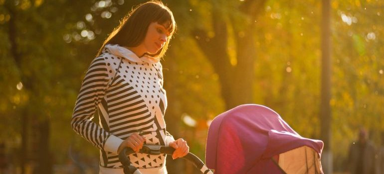 woman and baby in park