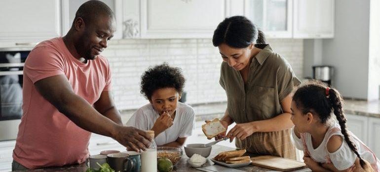 A family preparing dinner.