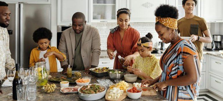 family having breakfast in kitchen