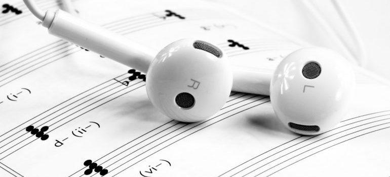 earphones on the desk